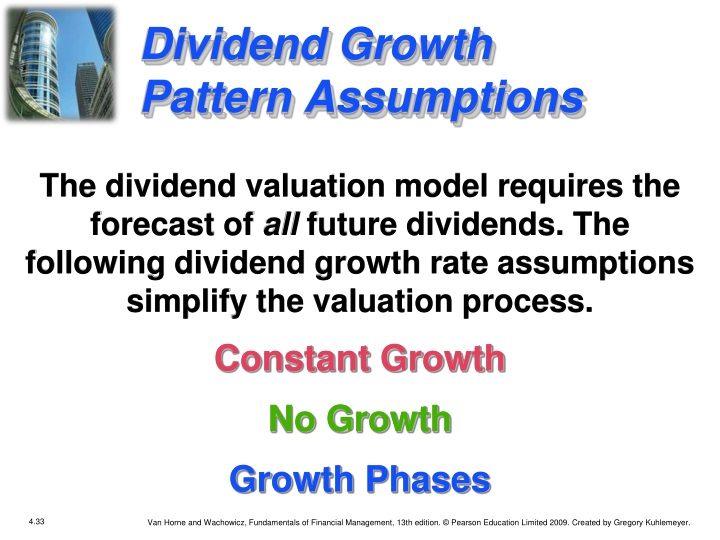 Dividend Growth Pattern Assumptions