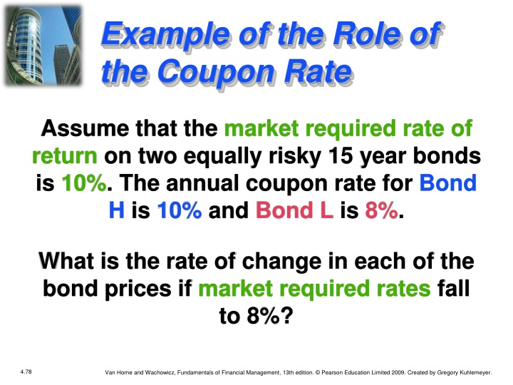 Example of the Role of the Coupon Rate