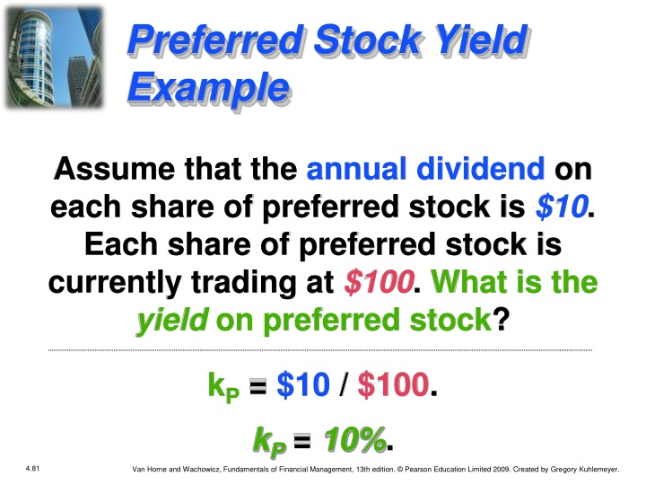 Preferred Stock Yield Example
