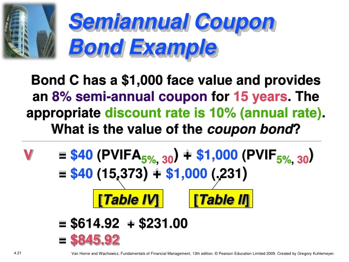 Semiannual Coupon Bond Example