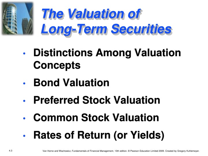 The valuation of long term securities