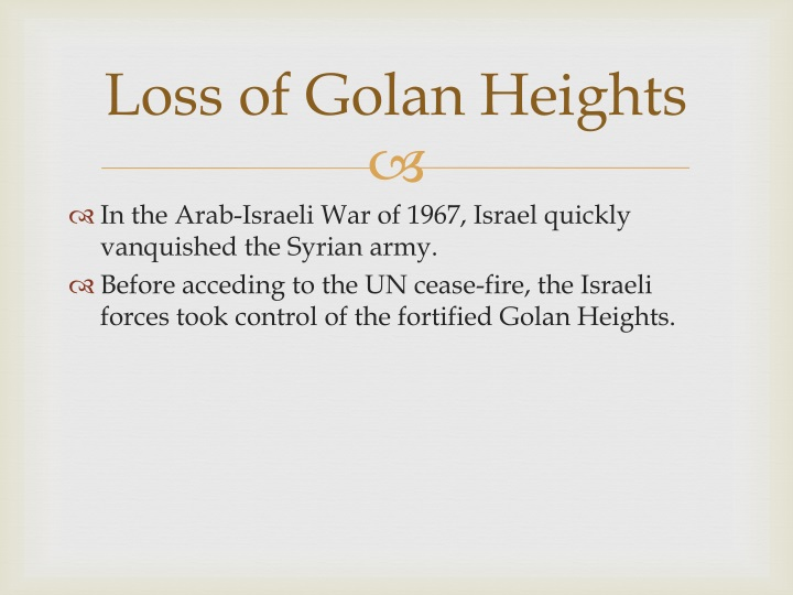 Loss of golan heights