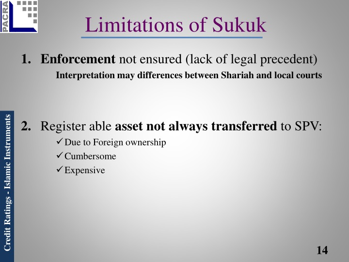 Limitations of Sukuk