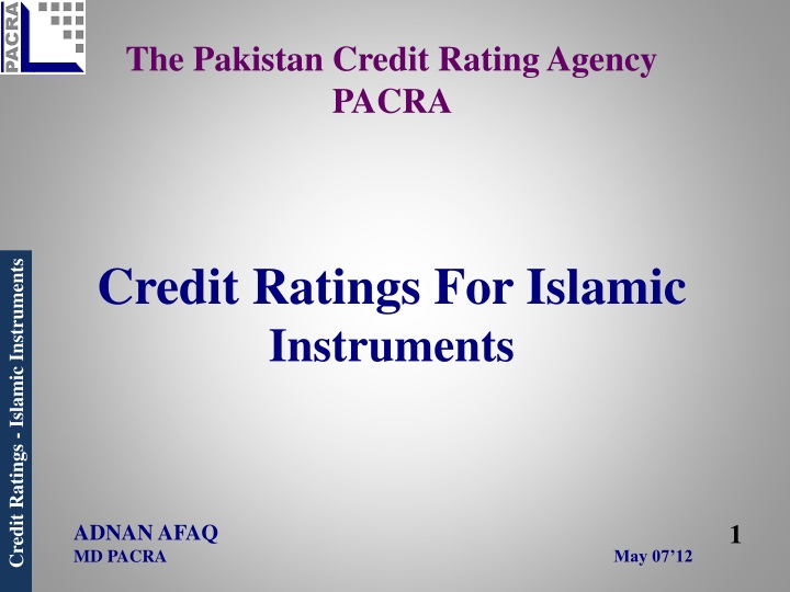 The pakistan credit rating agency pacra credit ratings for islamic instruments may 07 12