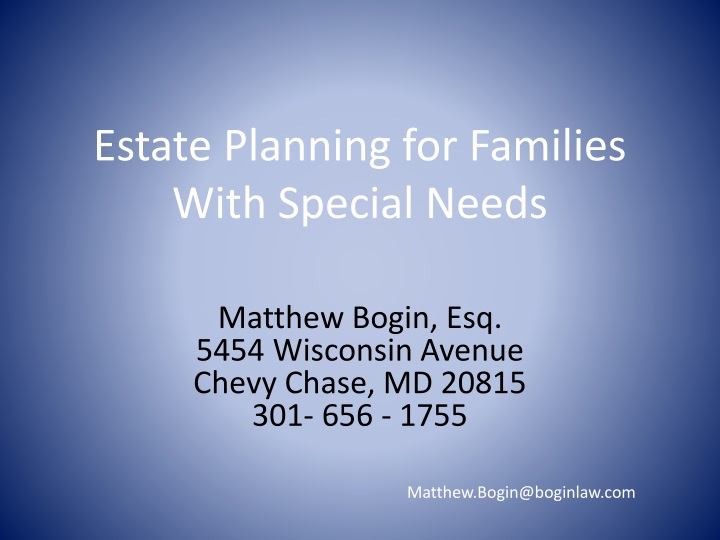 Estate Planning for Families With Special Needs