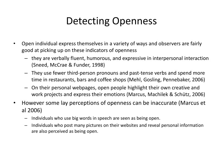 Detecting Openness