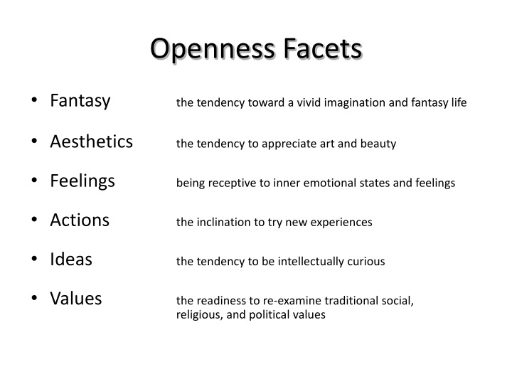 Openness facets