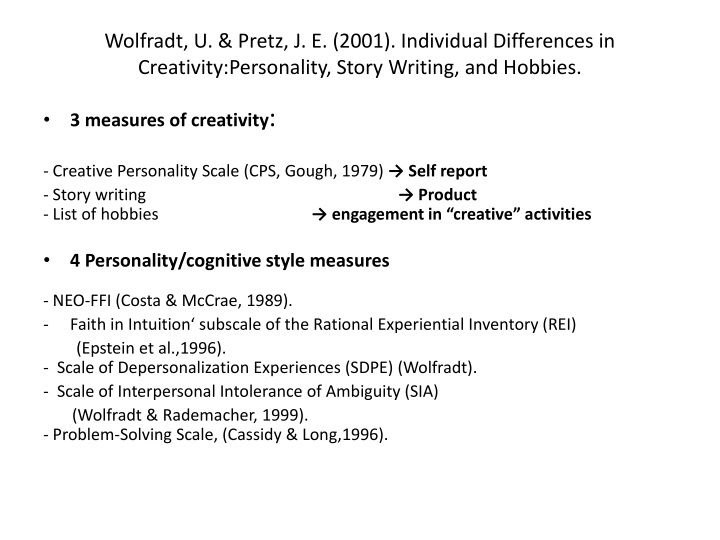 Wolfradt, U. & Pretz, J. E. (2001). Individual Differences in Creativity:Personality, Story Writing, and Hobbies.