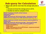 sub query for calculation