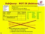 subquery not in subtract