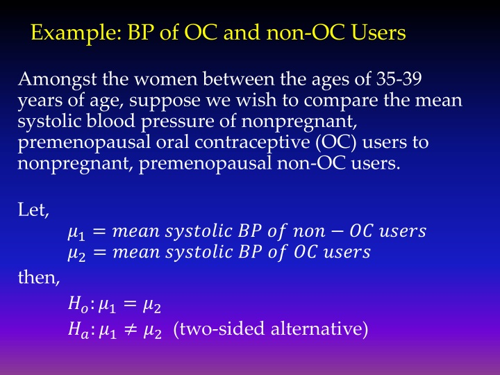 Example: BP of OC and non-OC Users