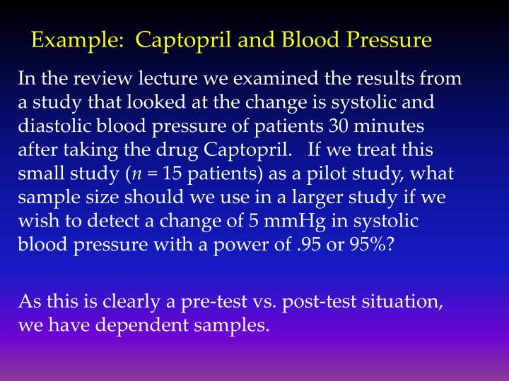 Example:  Captopril and Blood