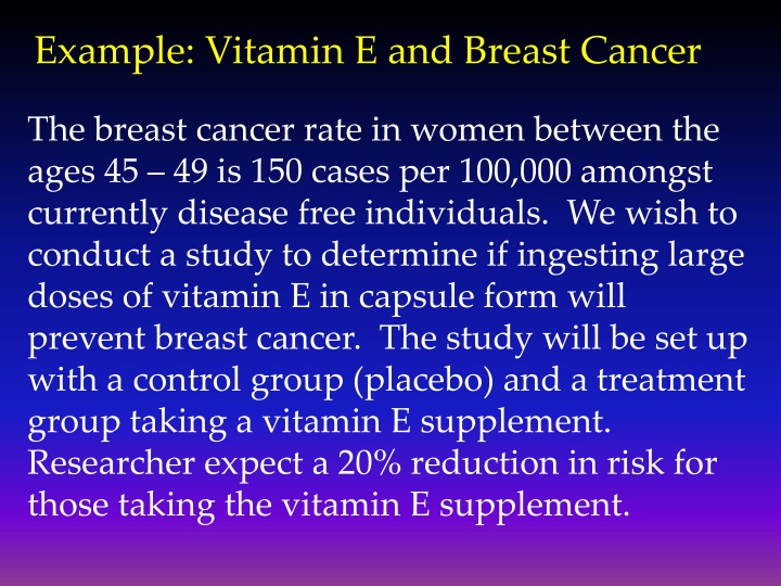 Example: Vitamin E and Breast Cancer