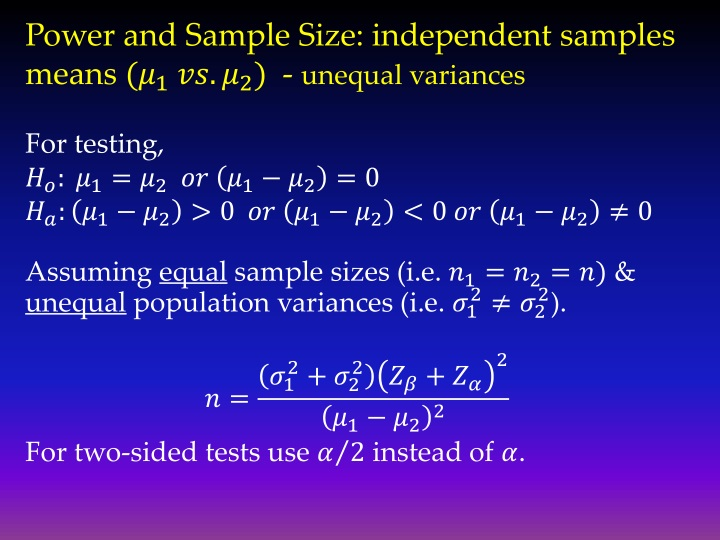 Power and Sample Size: independent samples means