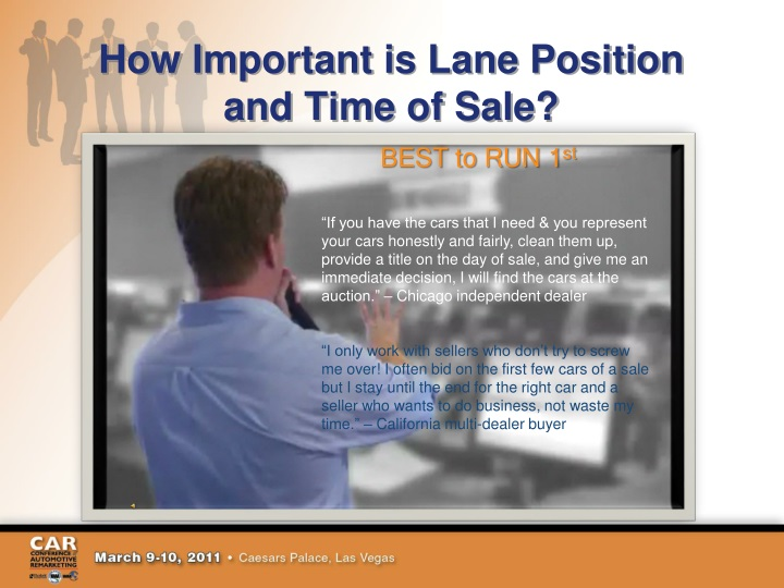 How important is lane position and time of sale
