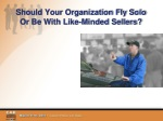 should your organization fly solo or be with like minded sellers