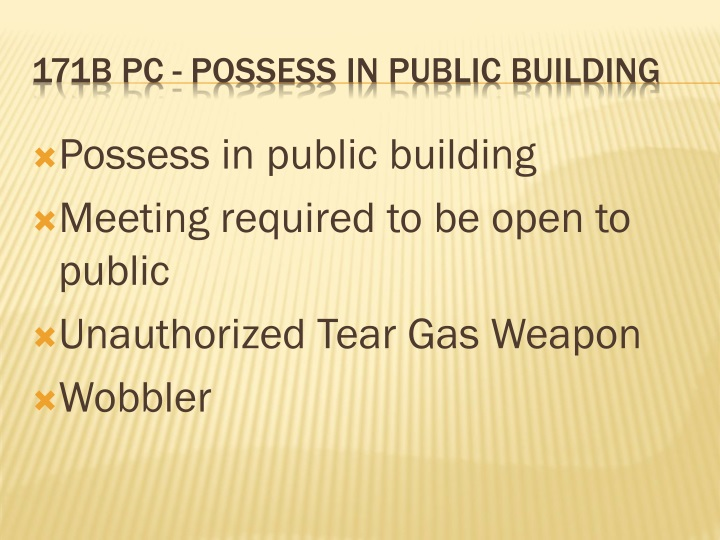 Possess in public building
