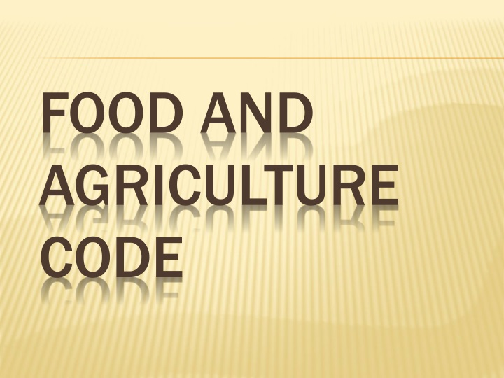 Food and Agriculture Code