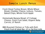 sample lunch menus