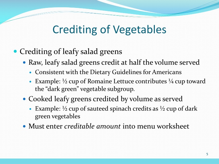 Crediting of Vegetables