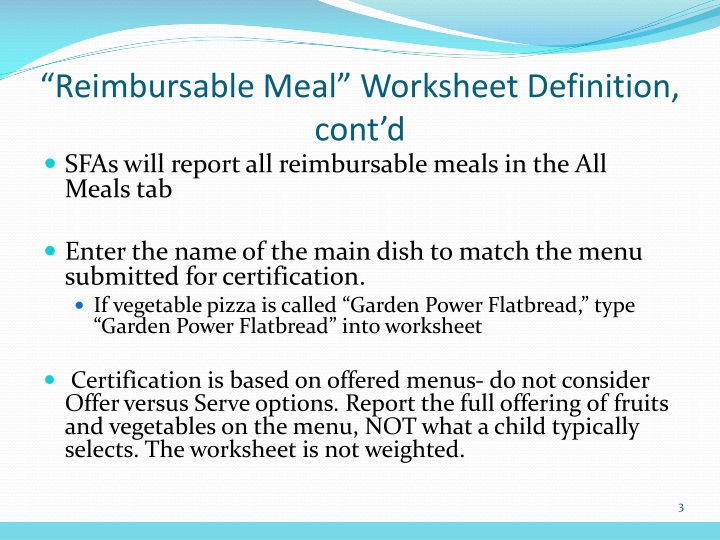 """Reimbursable Meal"" Worksheet Definition, cont'd"