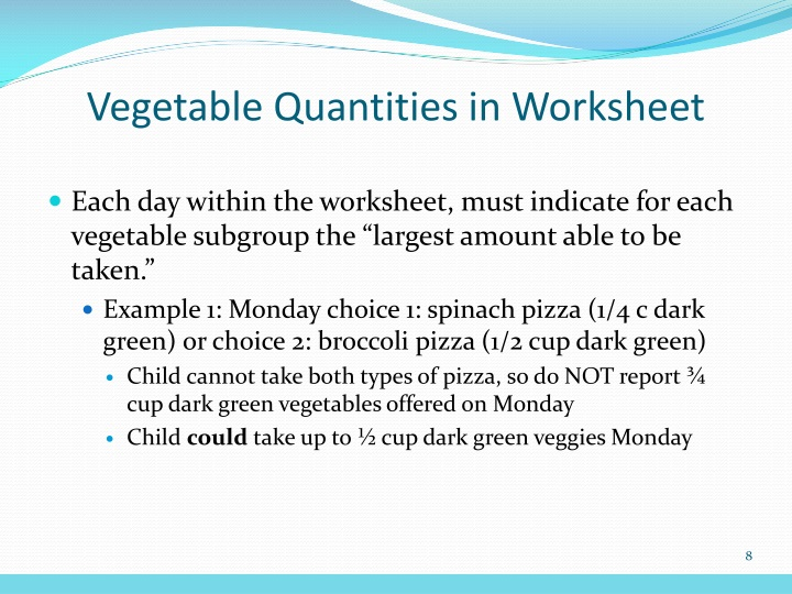 Vegetable Quantities in Worksheet