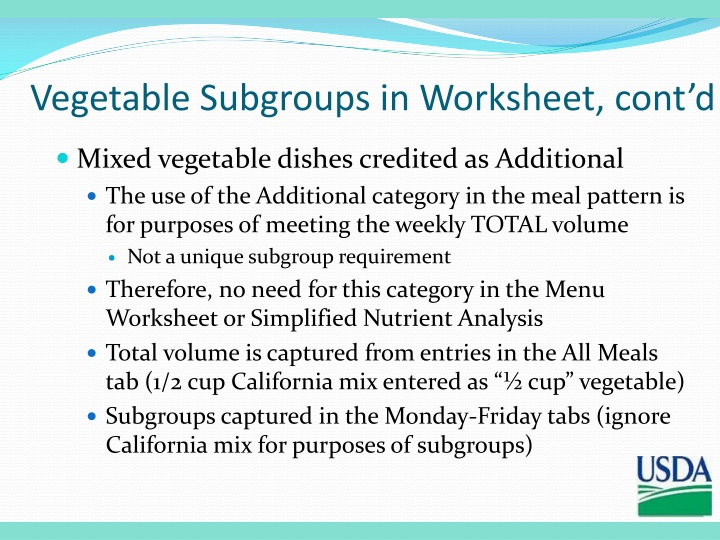 Vegetable Subgroups in Worksheet, cont'd