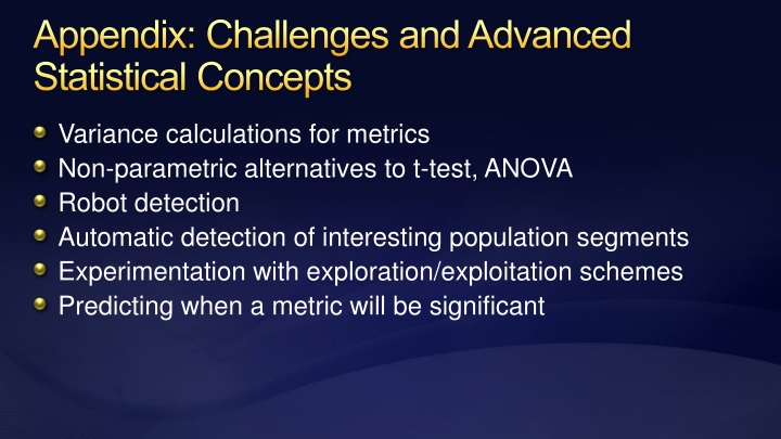 Appendix: Challenges and Advanced Statistical Concepts