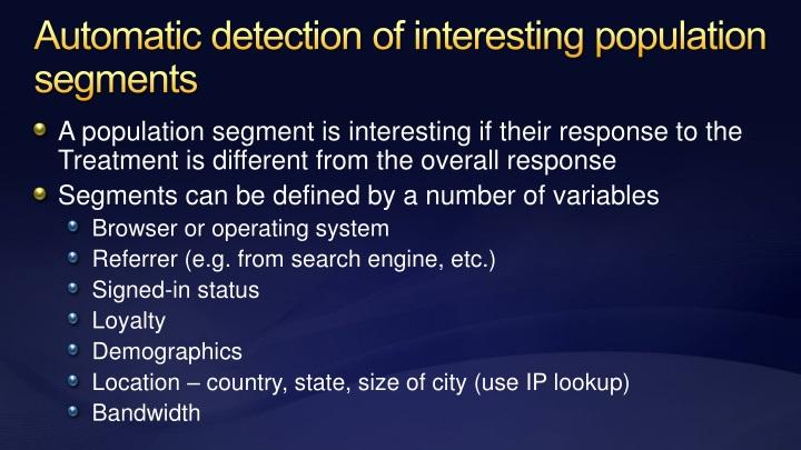 Automatic detection of interesting population segments