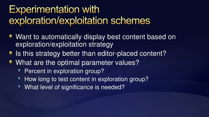 Experimentation with exploration/exploitation schemes
