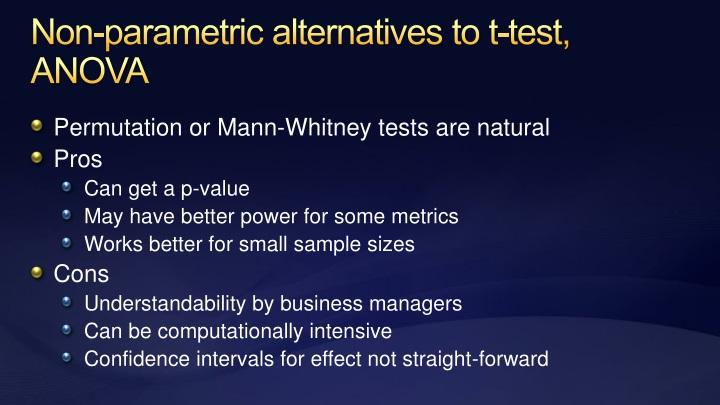Non-parametric alternatives to t-test, ANOVA
