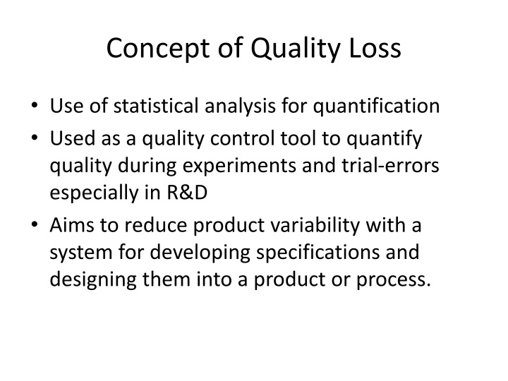 Concept of Quality Loss