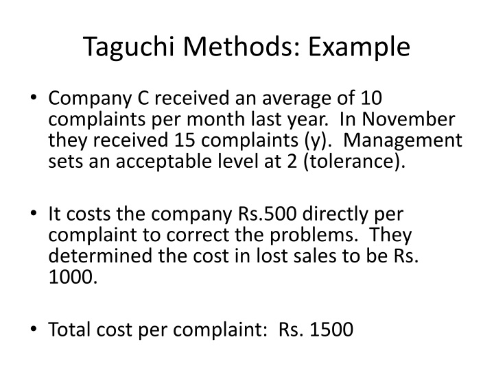 Taguchi Methods: Example