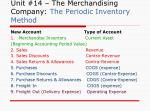unit 14 the merchandising company the periodic inventory method1