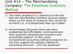unit 14 the merchandising company the perpetual inventory method