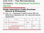 unit 14 the merchandising company the perpetual inventory method5