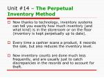 unit 14 the perpetual inventory method