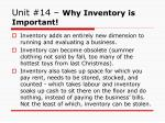 unit 14 why inventory is important