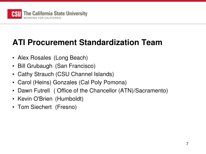 ATI Procurement Standardization Team