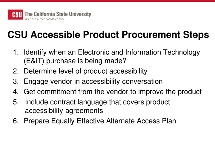 CSU Accessible Product Procurement Steps