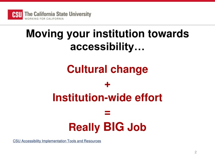 Moving your institution towards accessibility