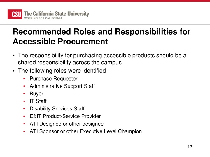 Recommended Roles and Responsibilities for Accessible Procurement