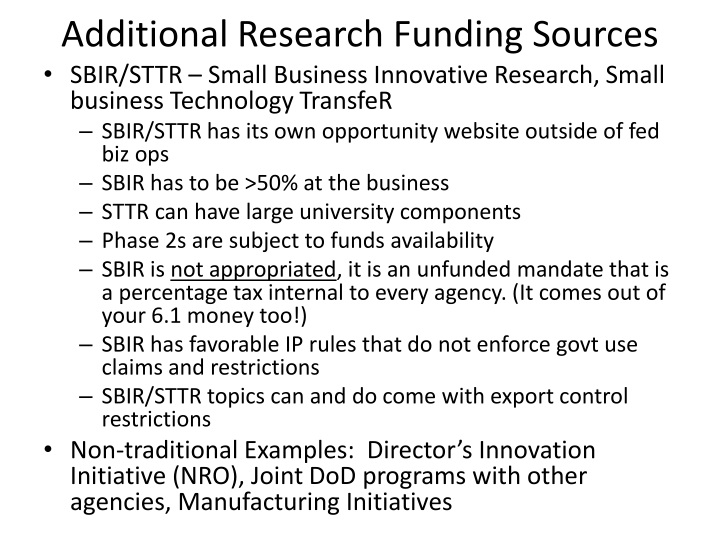 Additional Research Funding Sources
