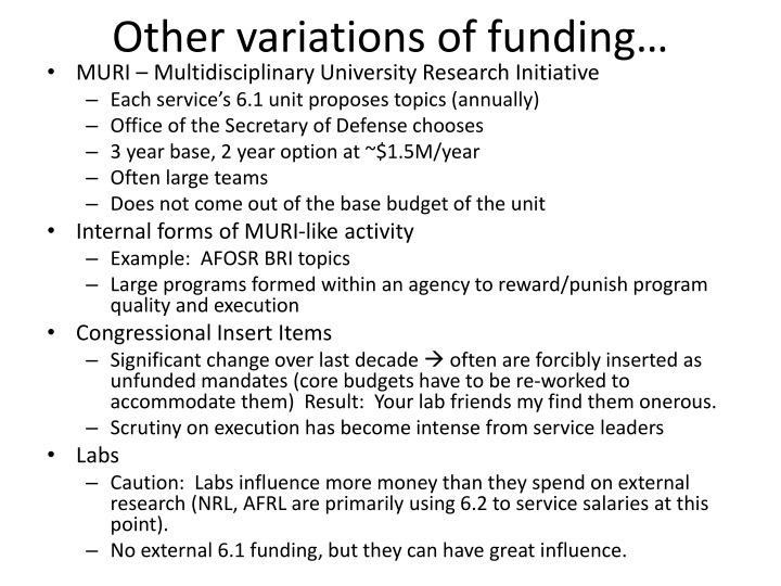 Other variations of funding…