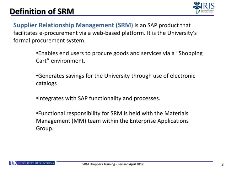 Definition of SRM