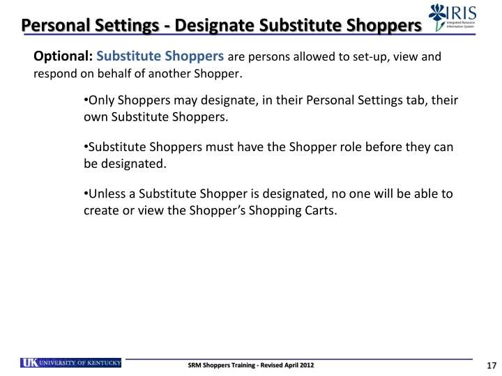 Personal Settings - Designate Substitute Shoppers
