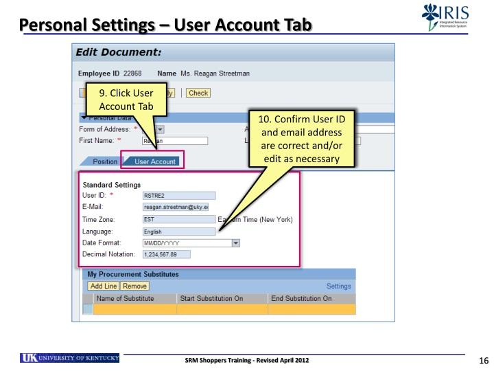 Personal Settings – User Account Tab