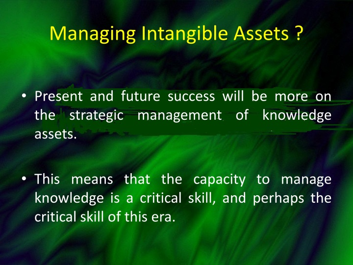 Managing Intangible Assets ?