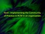 next implementing the community of practice in rcm in an organization