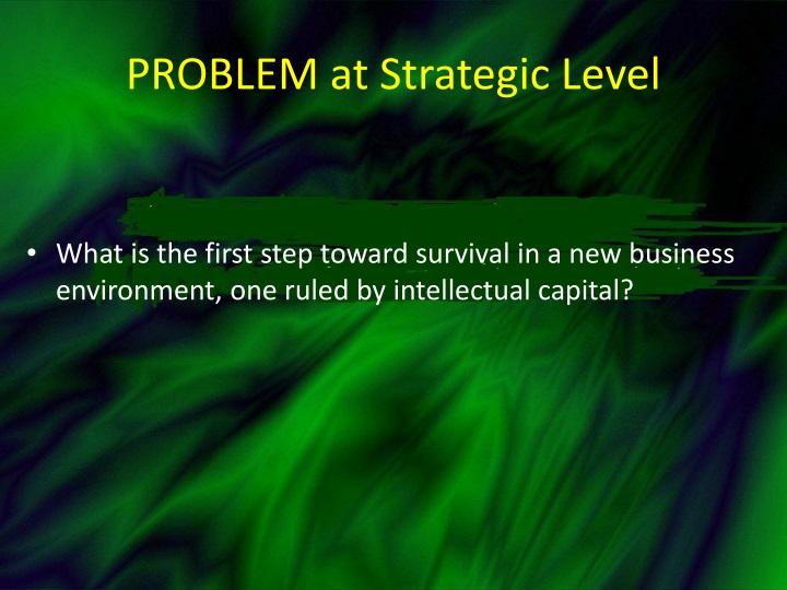 Problem at strategic level